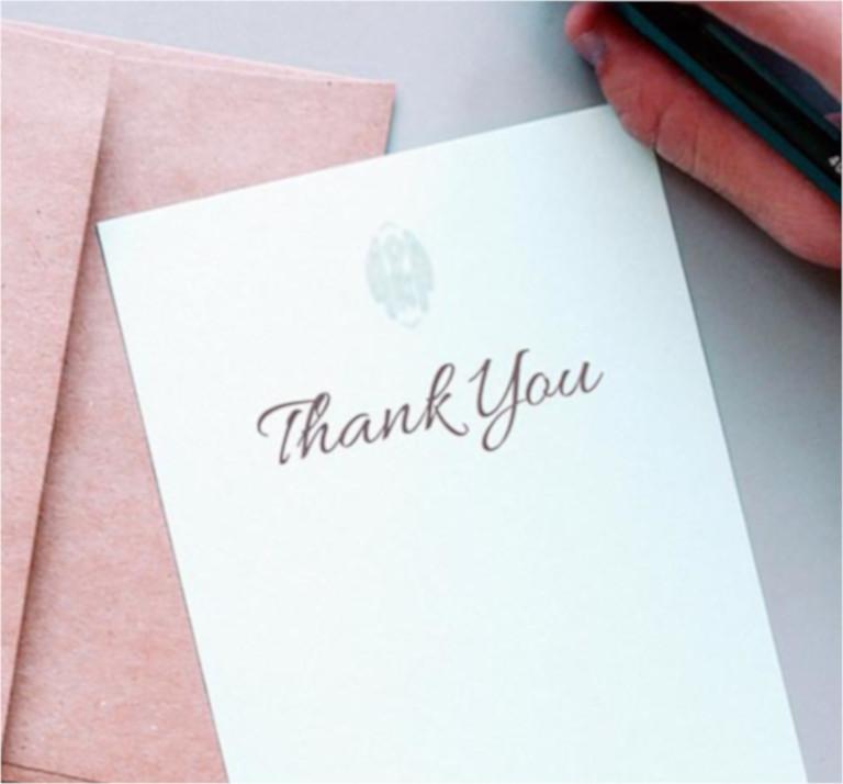 Redacción del agradecimiento a clientes