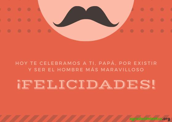 Imagen de felicitación de cumpleaños a tu padre, aparece dibujo de cara con bigote