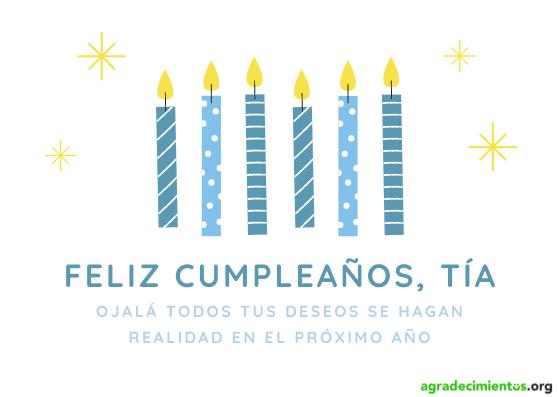 Felicitación cumpleaños tia con dibujo de velas