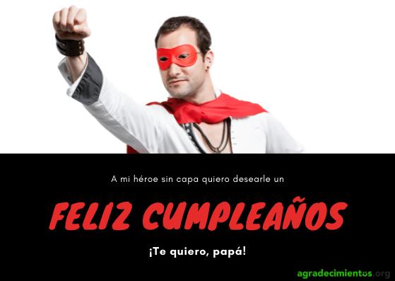 Felicitación de cumpleaños con imagen de padre como superhéroe