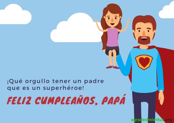Imagen de dibujo de padre superhéroe y niña con felicitación de cumpleaños a Papa