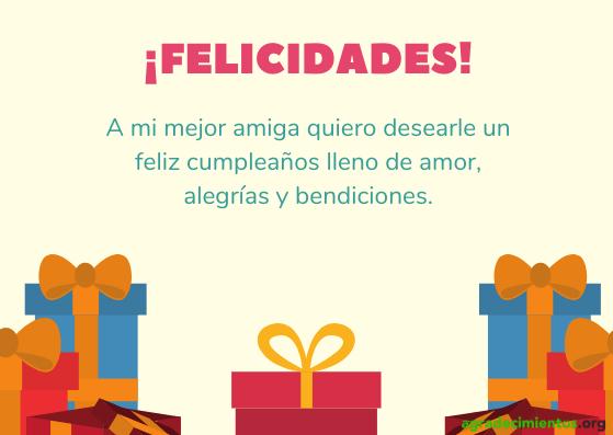 Felicitación cumpleaños a la mejor amiga con amor