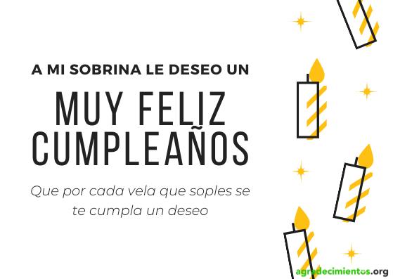 Frase con felicitación de cumpleaños a sobrina con imagen de velas