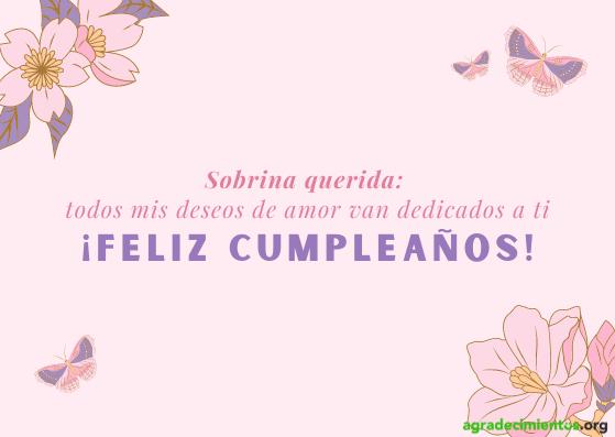 Flores y mariposas con felicitación de cumpleaños para sobrina