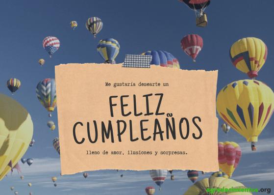 Imagen con globos aerostáticos y felicitación de cumpleaños