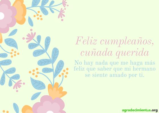 Feliz cumpleaños cuñada querida te amo