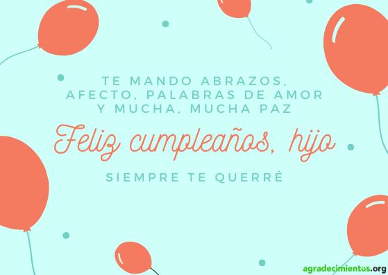 Feliz cumpleaños hijo te quiero. Imagen con globos rojos.
