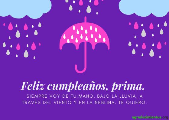 Feliz cumpleaños prima gracioso. Paraguas y nubes lloviendo.