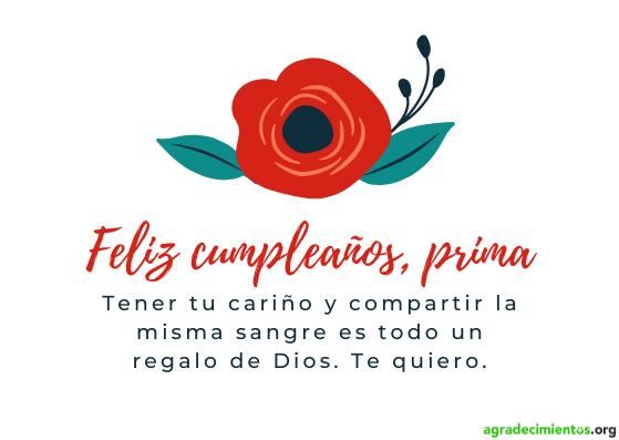 Feliz cumpleaños prima querida. Flor roja.
